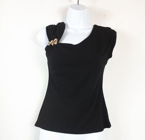 Cache Black Sleeveless Top With Snake Detail